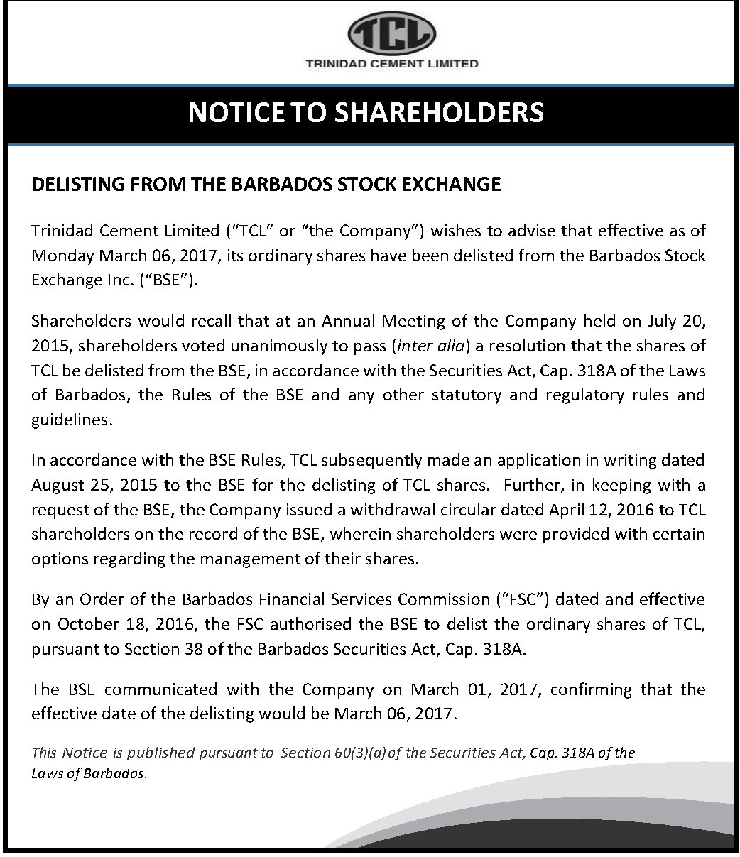 Bdos stock exchange delisting - Bdos
