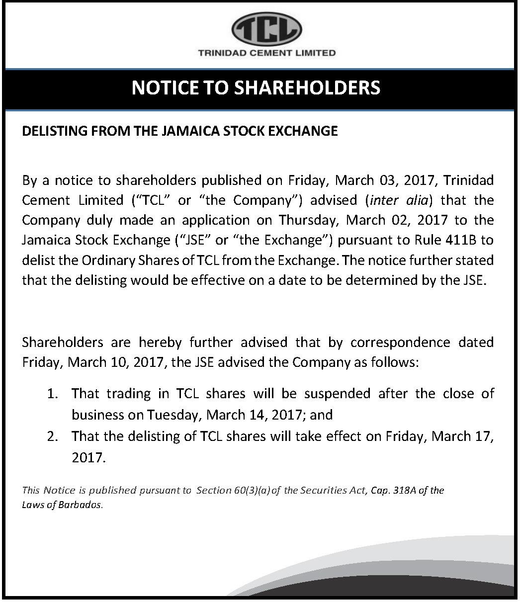 Delisting on Jca stock exchange - Bdos-15x3