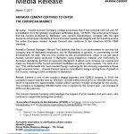 Media Release - Arawak Cement Certified to Enter the European Market