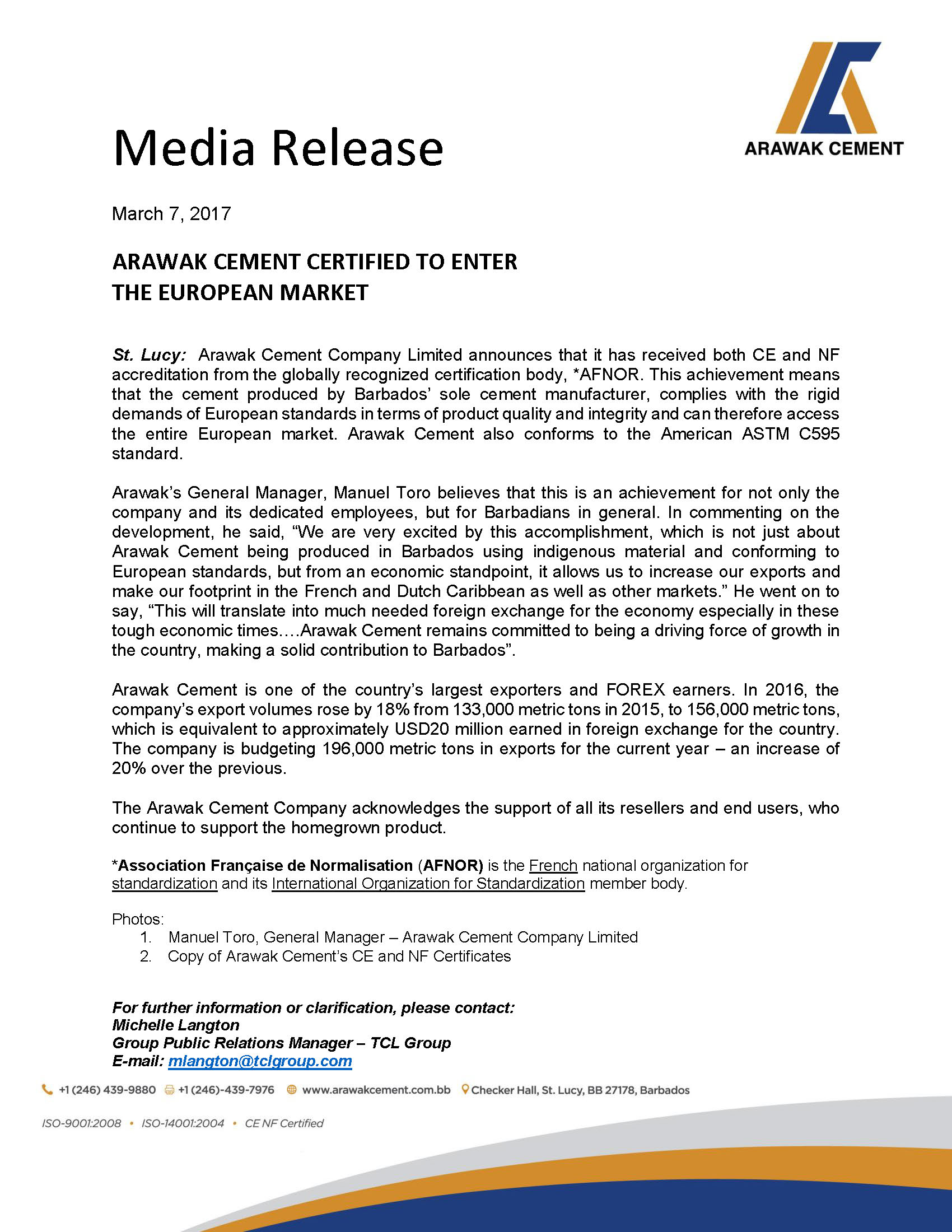 Media Release - Arawak Cement Certified to Enter the European Market