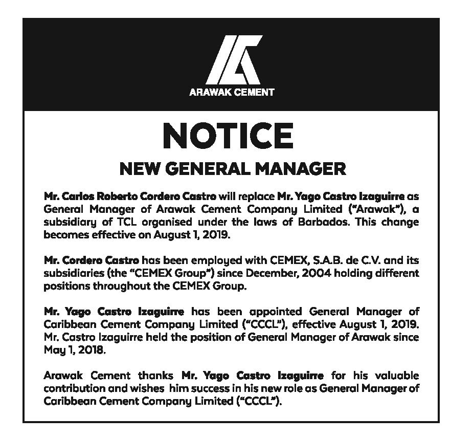 ARAWAK CEMENT NOTICE AD