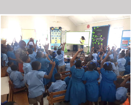 Surely a picture tells a thousand words - Students were excited and all on board - participating in fun activities and answering questions on road safety